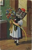 Arthur Thiele  :  Bonne Année   (  Chat - Cat - Kat )    T.S.N.  Serie 945 - Thiele, Arthur