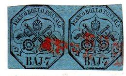 ASI207b - PONTIFICIO 1852, 7 Baj  N. 8 Usato : Coppia - Kirchenstaaten