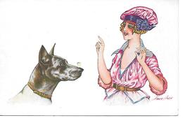 Illustrator - Xavier Sager - Woman With Great Dane, Femmet Et Grand Danois, Frau Mit Deutsche Dogge, Chien, Dog, Cane, - Sager, Xavier