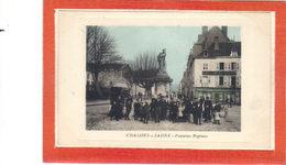 Chalon Sur Saône.Fontaine Neptune.Café De La Halle.animée - Chalon Sur Saone
