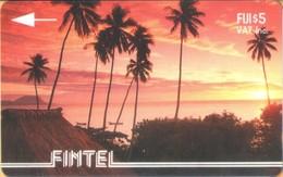 Fiji - GPT, Fintel, 2CWFA , Palms At Sunset,  Palm-trees, Sunsets, 5$, 5000ex, 1993, Used - Fiji