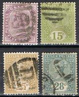 COLONIES ANGLAISES-CEYLON 107-108-109-110 - Ceylon (...-1947)
