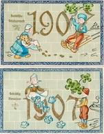 2 Année Date Millesime 1907 - Hollandais X 2, Gaufrée Embossed - Nouvel An