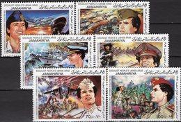 Gaddafi 1982 Revolution Libye 1047/2 ** 7€ Militär Flugzeuge Abwehr Schnellboot Panzer Miliz Military Set Bf Libyan - Libya