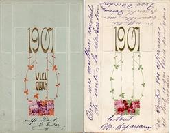 4 Année Date Millesime 1907 - Fleurs Style Art Déco X 2, Gaufrée Embossed - Nouvel An