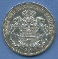 Hamburg 3 Mark Silber 1911 J, Wappen Der Hansestadt, J 64 Vz Kl. Kratzer (m1775) - [ 2] 1871-1918 : German Empire