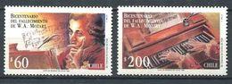 243 CHILI 1992 - Yvert 1089/90 - Musique Mozart - Neuf **(MNH) Sans Trace De Charniere - Chile
