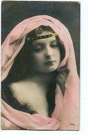 FOTO RETRATO MUJER CON VELO - PHOTO WOMAN PORTRAIT WITH VEIL - TARJETA POSTAL CARD WRITTEN - LILHU - Vrouwen