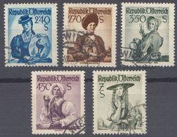 AUSTRIA -  OSTERREICH - 1951/1952 - Lotto 5 Valori Obliterati: Yvert 804, 805, 806, 807 E 807A. - 1945-.... 2. Republik