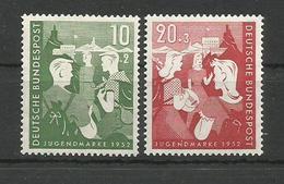 GERMANY DEUTSCHLAND 1952 - CHERITY STAMPS FOR YOUTH HOSTELS JUNGENDMARK UNUSED - Ungebraucht