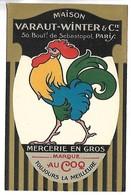 PUBLICITE - Marque AU COQ - Maison Varaut-Winter & Cie - 50 Bd De Sébastopol à Paris - Advertising