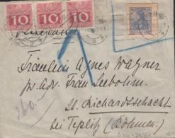 INFLA DR Ganzsachenausschnitt Mit Ö Porto 3x 38z, Auf Auslandsbrief Gestempelt: Charlottenburg 1.12.1916 - Taxe