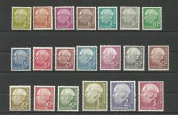 GERMANY DEUTSCHLAND 1954 PRESIDENT HEUSS COMPLETE SET UNUSED - Unused Stamps