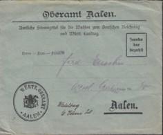 WÜRTTEMBERG Franko Bar Bezahlt, Brief Für Stimmzettel Reichstag- Und Landtagswahl, Aalen 1920 - Wuerttemberg