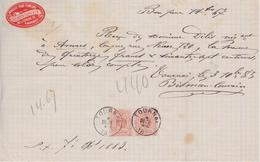 1883 RECU 14 Fr.67 / TOURNAI Articles Fumeurs Tabac / BISMAN à TOURNAI - N° 28 PAIRE - 1869-1883 Leopold II
