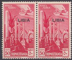 LIBIA (COLONIA ITALIANA) - 1937 - 2 Valori Nuovi MH Di Yvert Posta Aerea 4 Uniti Fra Loro, Come Da Immagine. - Libyen