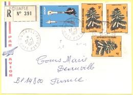 Costa D'Avorio - Côte D'Ivoire - 1977 - 200F Symboles Royaux Akans + 3 X 5F Caféier En Fleurs - Registered - Par Avion - - Costa D'Avorio (1960-...)