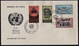 Ca0258 CYPRUS 1966, SG 270-3  UN Cyprus Resolution,  FDC - Storia Postale