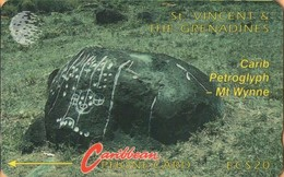 St. Vincent & The Grenadines - STV-5B, GPT, 5CSVB, Carib Petroglyph, 20 EC$, 22.000ex, 1992, Used - St. Vincent & The Grenadines