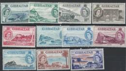 Gibraltar 1953 Queen Elizabeth II - Selection - MH, Mint Light Hinged - AS-10 - Gibraltar