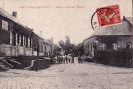 LOUVIGNIES - QUESNOY 59  PRES D' AVESNES SUR HELPE  ( PLACE ET RUE DE L' EGLISE ) - France