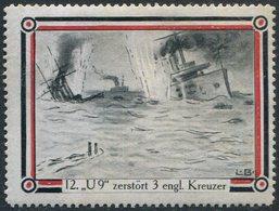 SUBMARINE WWI Germany Navy Poster Vignette Reklamemarke Kriegsmarine U-Boot SM U-9 Deutschland Sous-Marin Allemagne WW1 - Sottomarini