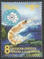 PERU 1997 ANTARCTICA SCIENTIFIC EXPEDITION MARINE LIFE KRILL MAP SET MNH - Peru