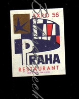 C256 CZECHOSLOVAKIA 1966 Interhotel - Hotel Brand - Restaurant Praha Restaurant Expo 58 - Letenske Sady, Praha 7 - Zündholzschachteletiketten
