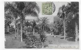 (RECTO / VERSO) MONTE CARLO EN 1907 - N° 1050 - VUE DANS LES JARDINS - CACHET ET TIMBRE DE MONACO - CPA - Monte-Carlo