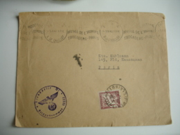 1940 1.10 Lettre Censure Allemande Lettre Taxee Duval  De Paris A Paris - Marcophilie (Lettres)