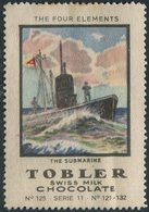 SUBMARINE Switzerland Tobler Poster Vignette Navy Sous-marin Reklamemarke Kriegsmarine U-Boot Flotte Schweiz Suisse - Sottomarini