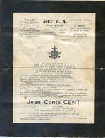Militaria - Faire Part : Père Cent  Du 405 Ième DCA - Classe 34 - Circule En 1937 - Announcements