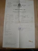 Tournai Troisième Régiment De Chasseurs A Pied Certificat De Bonne Conduite Soldat Calle Stekene 1910 - Décrets & Lois