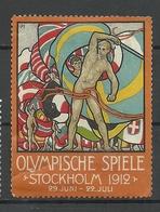 SCHWEDEN Sweden 1912 Vignette Olympic Games Stockholm NB! Repaired! Damaged! - Sommer 1912: Stockholm