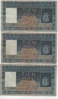 LOT DE 3 BILLETS PAYS BAS.3 X  TIEN  GULDEN. 1935.PAS COURANT - Other