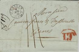 1843- Lettre De St GALLEN  Pour Genova  - Transit L T  Milano  Taxe 14 -au Dos, Arrivée Genova Rouge - ...-1845 Préphilatélie