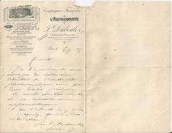 PARIS F DUBOULOZ COMPAGNIE FRANCAISE L AUTOCOPISTE PHOTOGRAPHIQUE ENCRES D ANILINE DOCUMENT DOUBLE MANQUE AU MILIEU 1905 - Unclassified