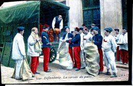 Guerre 14-18 Vie A L Arriere Infanterie La Corvee De Pain Carte Colorisee Ed Chocolat Louit Manque Coin HG Trace Colle D - Guerra 1914-18
