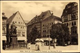 Cp Jena In Thüringen, Marktplatz, Johann Friedrich Denkmal, Weinhaus - Deutschland