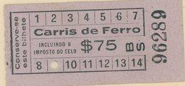 (295c) BILLETE DE TRANVIA (CARRIS DE FERRO) DE LISBOA // 193c - Tramways