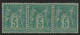 France - Type Sage - N°  75  * * Bande De 3 - Cote : 67 € - 1876-1898 Sage (Type II)