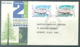 NORFOLK  - 22.9.1968 -  21st ANNIVERSARY FIRST FLIGHT NORFOLK SYDNEY QANTAS - Yv 98-99  - Lot 18911 - Ile Norfolk