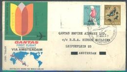 AUSTRALIA  - 30.3.1967 -  FIRST FLIGHT SYDNEY TO LONDON VIA AMSTERDAM QANTAS - Yv 328 330  - Lot 18912 - Premiers Vols