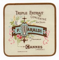 - PARFUMERIE - TRIPLE EXTRAIT CONCENTRÉ AUX FLEURS - F. VARALDI - CANNES - - Etiquettes