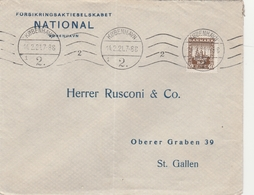 Brief Aus Dänemark In Die Schweiz, Marken Mit Pervin-Lochung 1921 - Covers & Documents