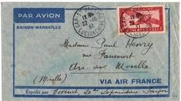 INDOCHINE YT PA N°8  SEUL SUR LETTRE OBLITERE DE CAP ST JACQUES POUR ARS/MOSELLE - Luchtpost