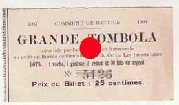 BATTICE 1903  1904 & 1905  Billet De Tombola Réunion De 3 Billets  / RARE - Billets De Loterie
