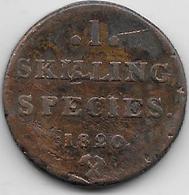 Norvège - 1 Skilling - 1820 - Norvège