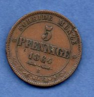 Saxe -- 5 Pfennige 1864 B -  Km # 1218-  état TTB - [ 1] …-1871 : Etats Allemands