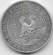 Norvège - 50 Kroner - 1992 - Argent - Norvège